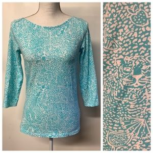 Lilly Pulitzer Turquoise Cat Cocktail Andie Top